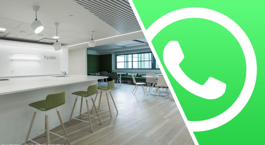 Puolet kuvasta täyttää Whats app -logon puhelimen luuri vihreällä taustalla. Toisella puolella havainnekuva uutuuttaan kiiltävästä työtilasta, jossa on muun muassa baaripöytä ja korkeita tuoleja.