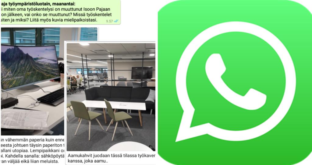 Puole tkuvasta täyttää WhatsApp-sovelluksen logo. Toisella puolella esimerkkejä sovelluksella toetutetuista kyselyistä, viestejä ja kuvai toimistoympäristöstä.